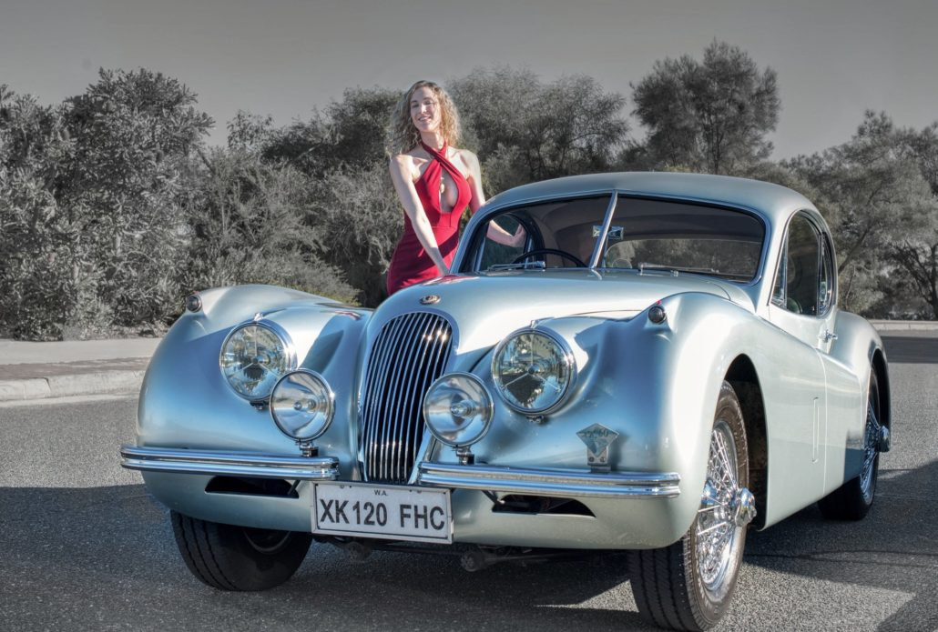 Hayley Beardman with Jaguar XK 120